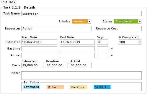 Task Details Window