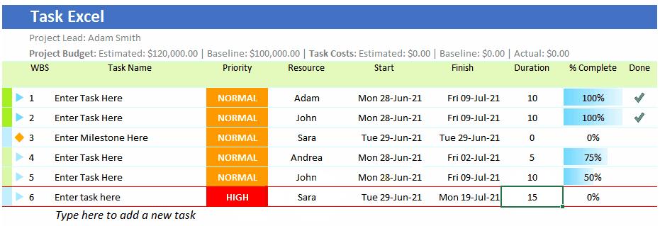 Task Excel